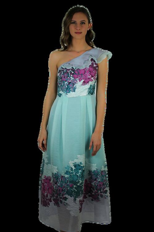 Дълга рокля от копринена органза