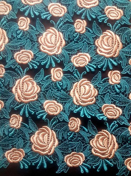 Луксозна Дантела в петролен цвят