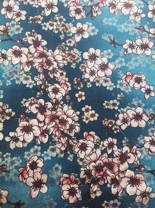 Вълна сатен  петролен цвят на цветя Dolce&Gabbana