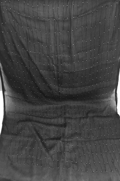 Двоен черен шал коприна с мъниста Mila Schoin