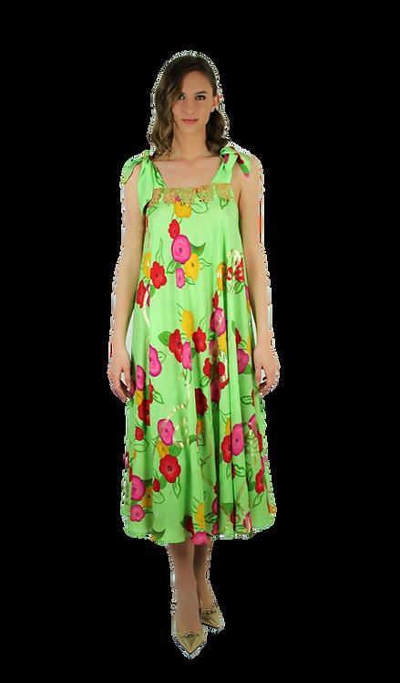 Ярко зелена рокля на цветя с лурекс