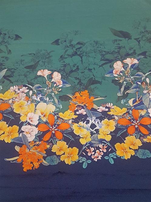 Коприна с бордюр Цветя петролен цвят