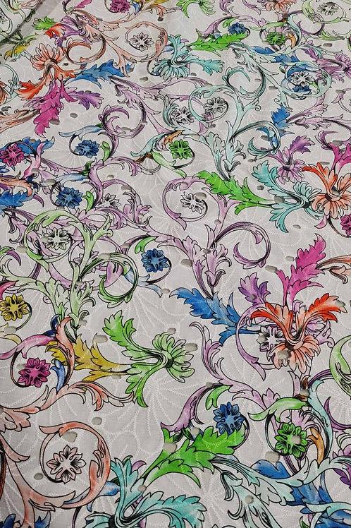 Памук в бяло на цветни листа sangallo Versace
