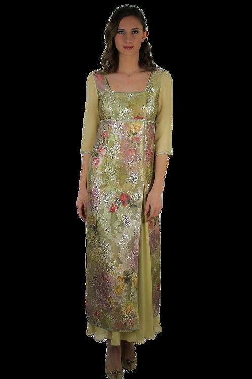 Дълга рокля от златна органза