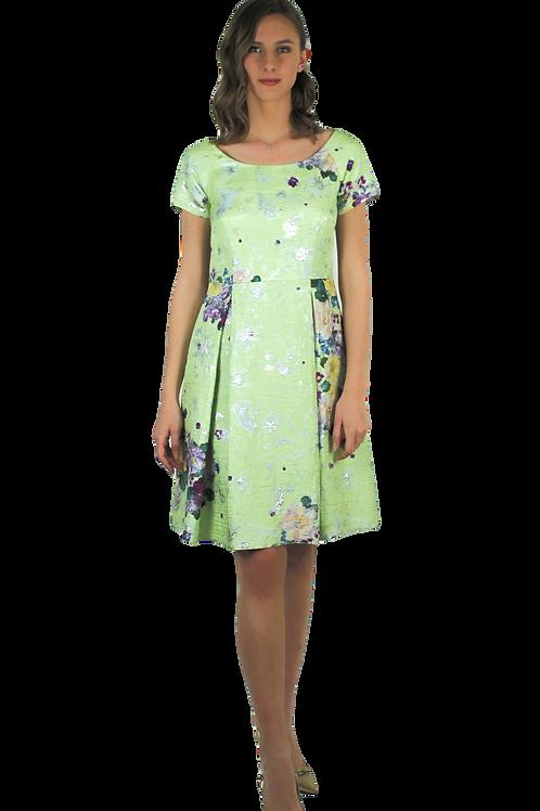 Бледо зелена рокля с лурекс