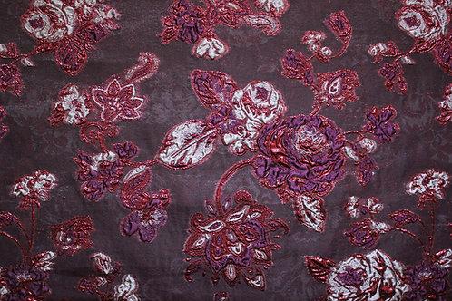 Органза с 3D цветя в бордо цвят ARMANI