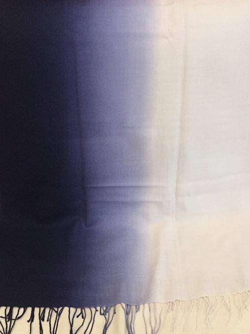 Бяло/Синьо Шал  Кашмир/Вълна  преливащи Coveri Collection
