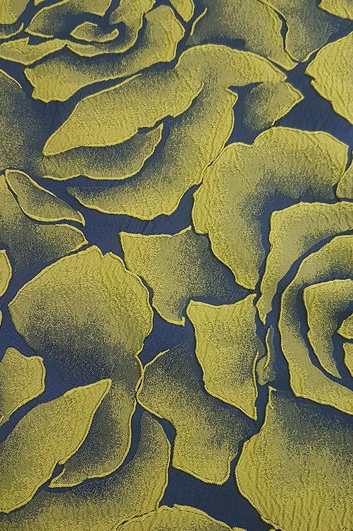 Тъмно синя тафта на жълто зелени цветя