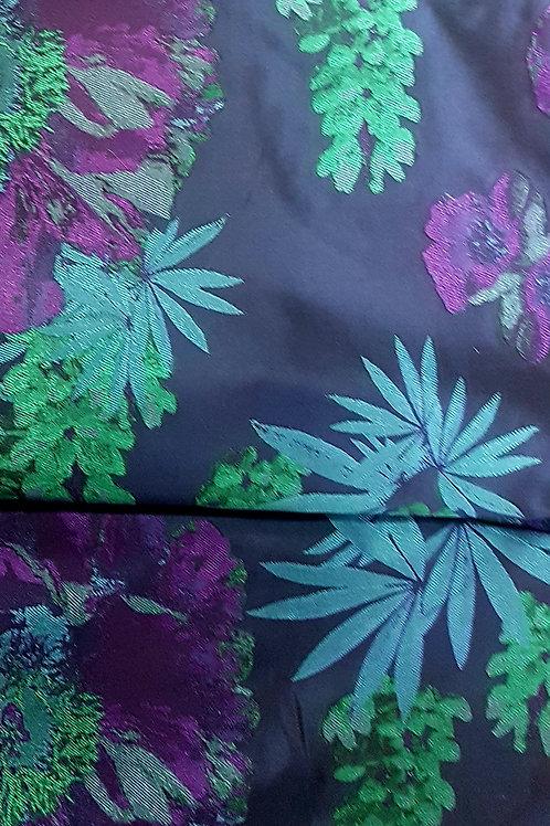 Санжен Тафта с Цветя в синьо и зелено