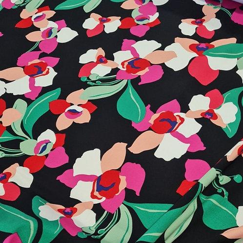 Памук ластичен черен на ярки цветя