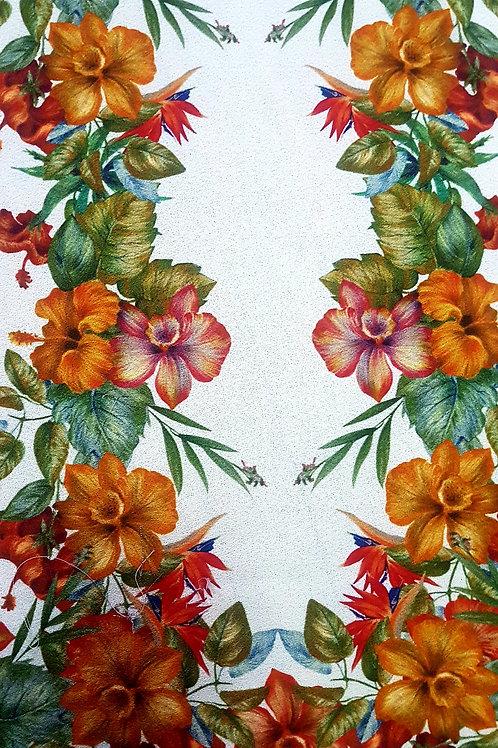 Вълнен Жоржет  екрю на цветя Lena Hosheck