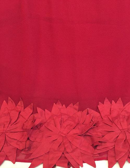 Червен  Шал Шифон  Коприна с ръчно изработени цветя Basile