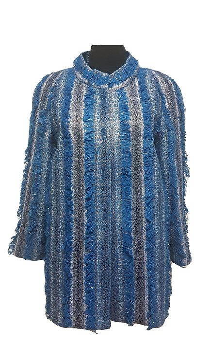Сако Букле цвят синьо-златно с ресни