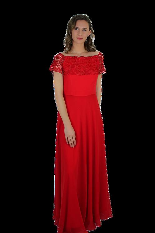 Дълга червена рокля от коприна