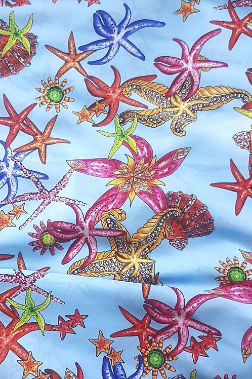 Коприна в синьо  на морски звезди Versace