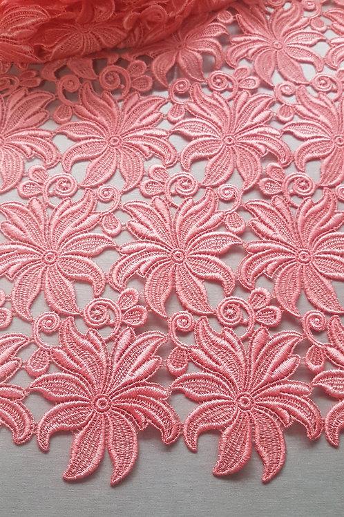 Брюкселска Дантела макреме цвят корал
