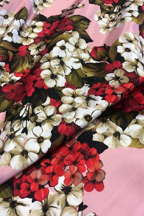 Ластична Коприна на Цветя в Розово Dolce & Gabbana
