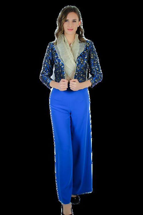 Панталон от синя коприна