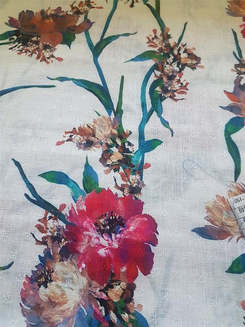 Лен бял на цветя и бродерия