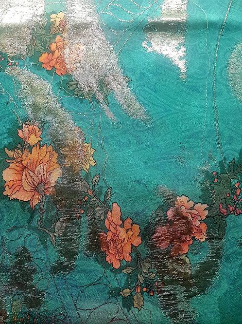 Коприна Цветя в зелено с лурекс Alberta Ferretti