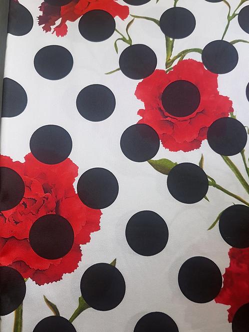 Сатенирана  вискоза на точки и цветя Dolce&Gabbana