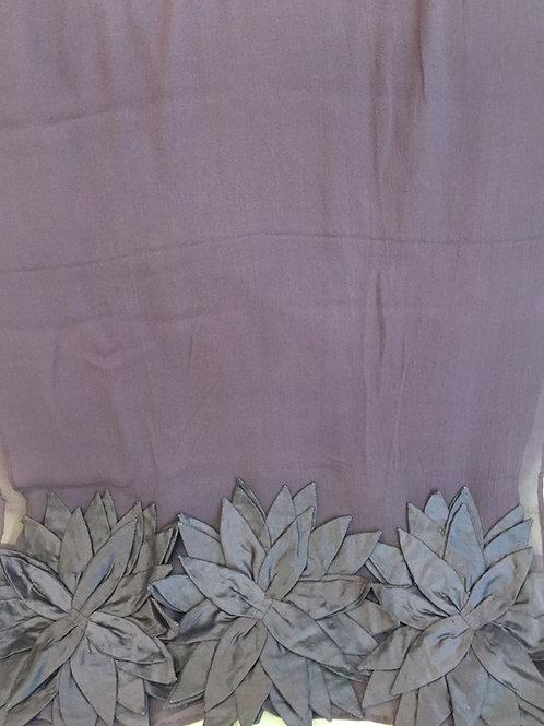 Лилав Шал Шифон  Коприна с ръчно изработени цветя Basile