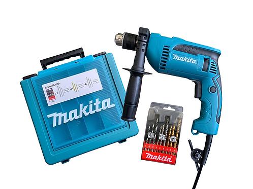 Furadeira de Impacto HP1640KX1 + Maleta Com Kit De 9 Brocas - MAKITA