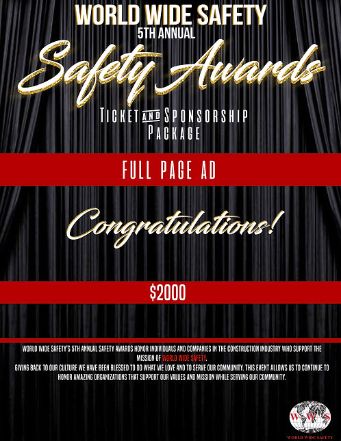 SAFETY AWARDS FULL PAGE AD