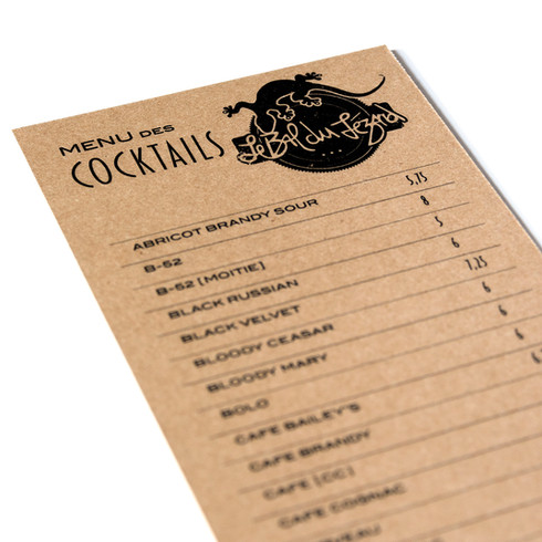 Menu cocktails