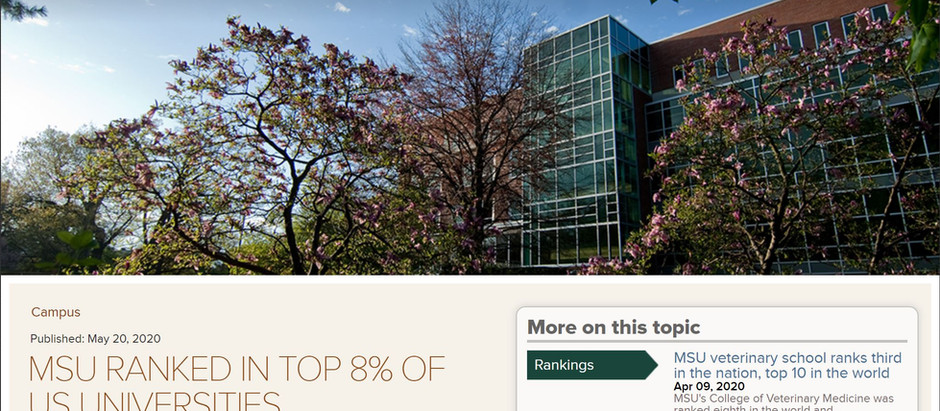 MSU Ranked in Top 8% of Universities in the United States