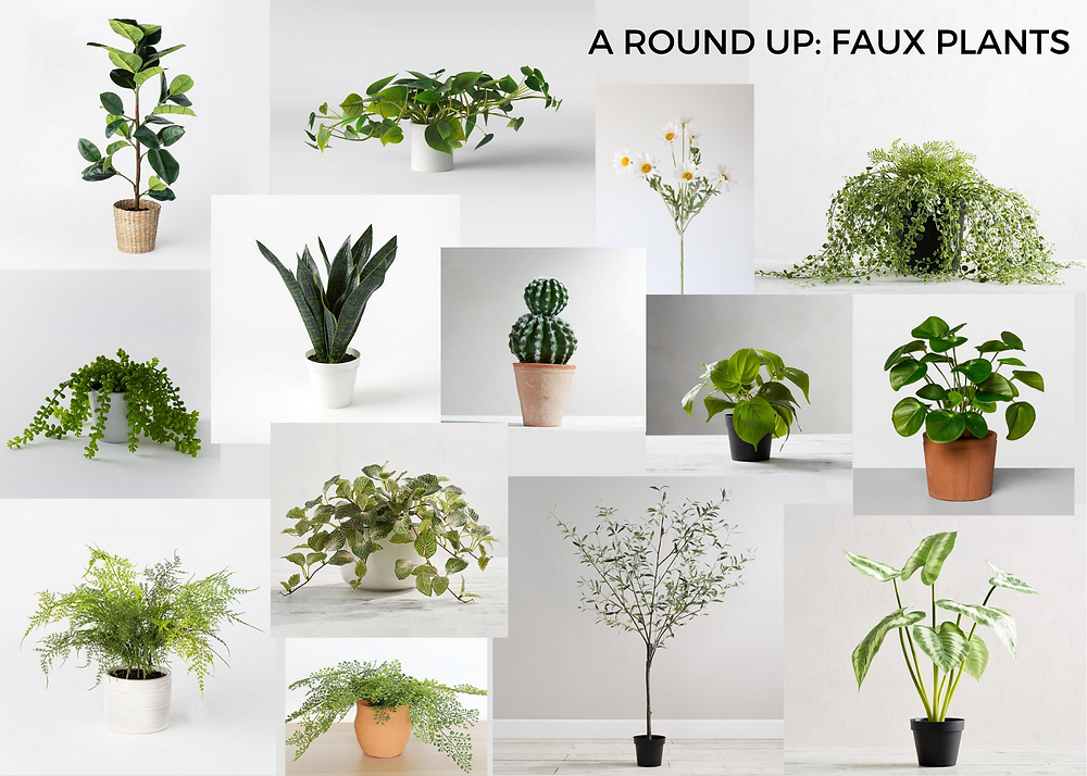 collage of faux plants - indoor faux plant collage