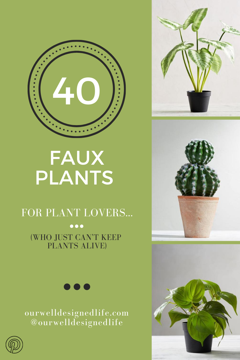 """Three Faux Plant Photos with text to the left - """"40 faux plants for the plant lovers who can't keep plants alive. Green background - Our Well Designed Life"""