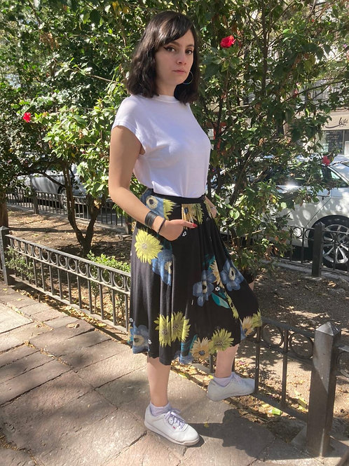 Falda larga negra flores azul/verde