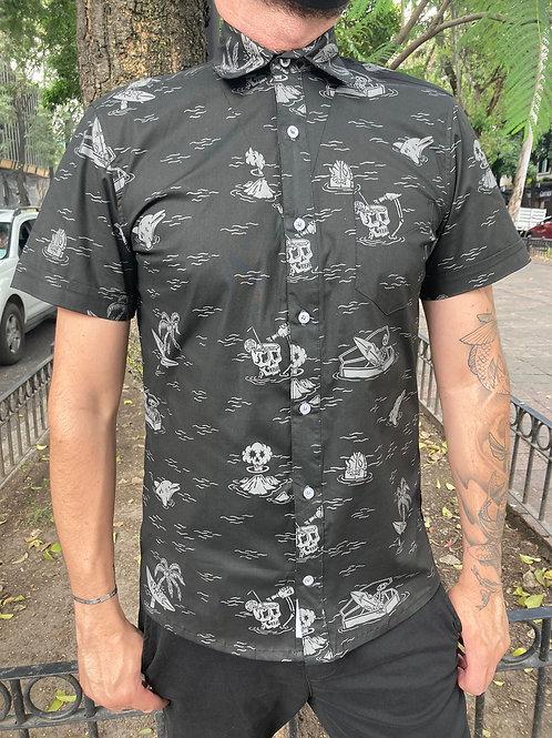 Camisa Caballero Negro Surf Playa