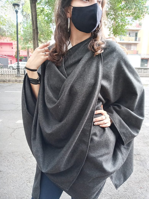 PONCHO UNISEX GRIS JASPE FASHION LOVERS