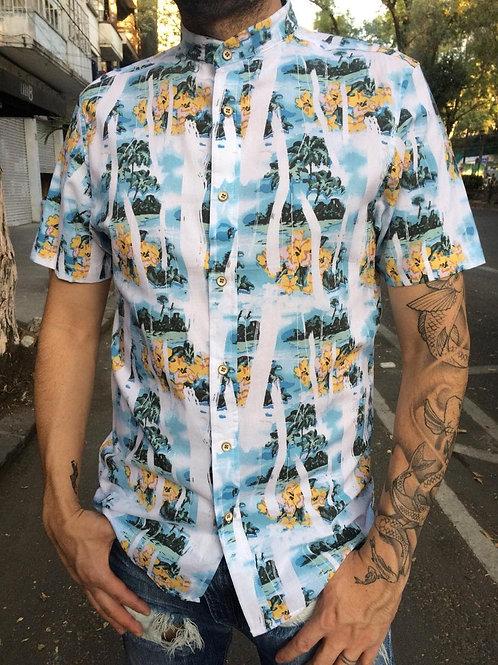Camisa caballero tropical blanco