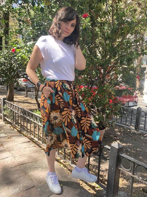 Falda larga flores café