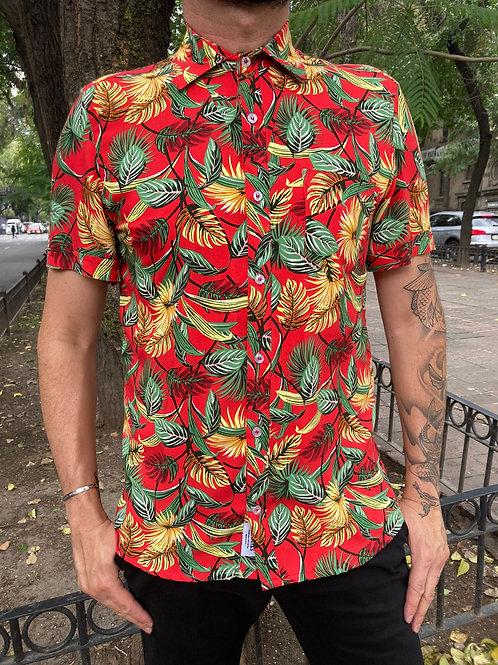 Camisa Caballero Roja Hojas Tropicales