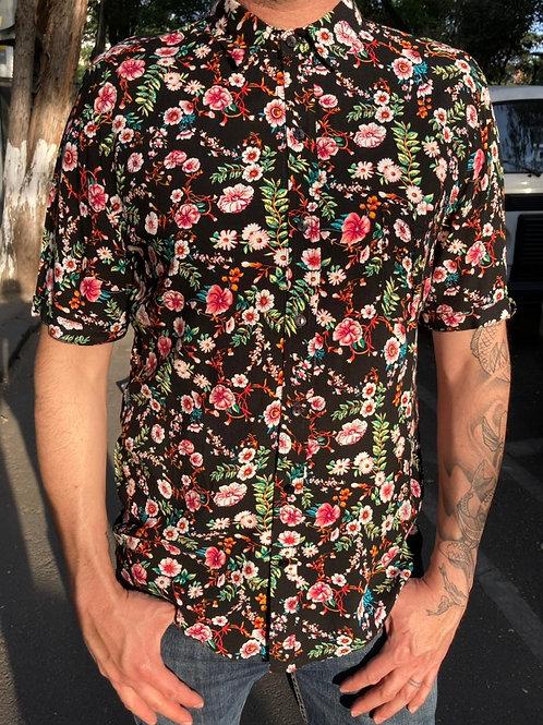 Camisa Caballero Flores negro