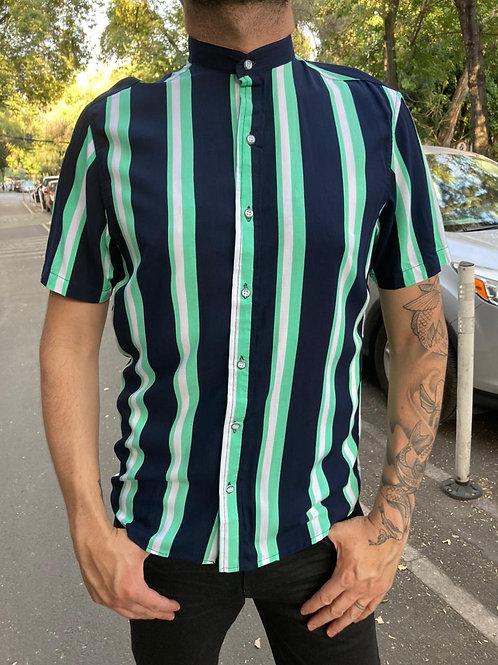 Camisa Caballero Lineas Azul/Menta