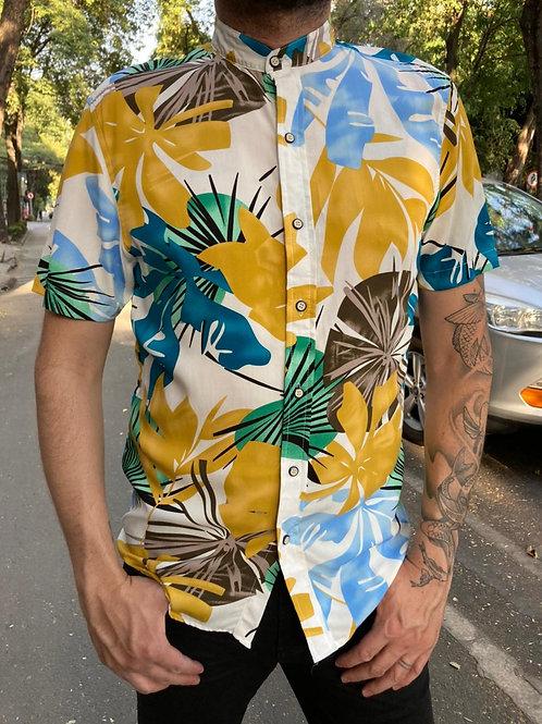 Camisa Caballero hojas Mostaza