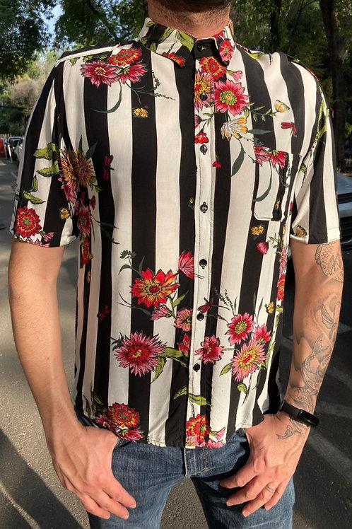 Camisa Caballero Flores blanco/rayas negras