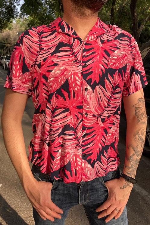 Camisa Caballero Palmeras rosa/azul
