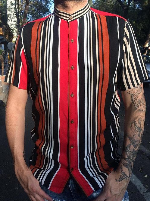 Camisa caballero lineas rojo negro