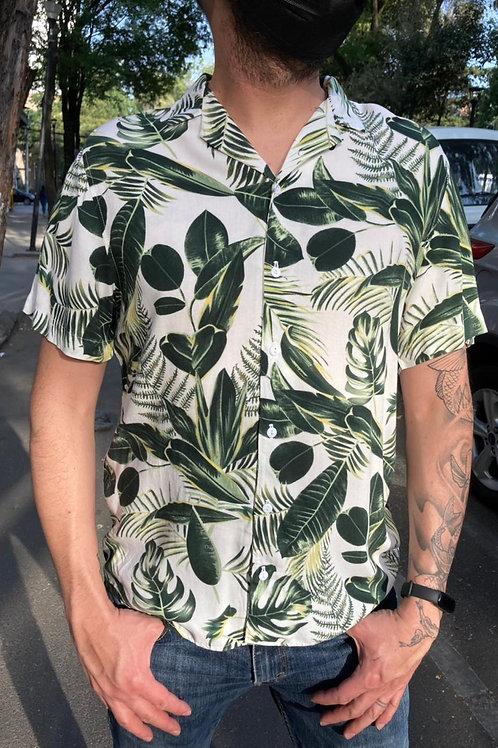 Camisa Caballero Hojas blanco/verde