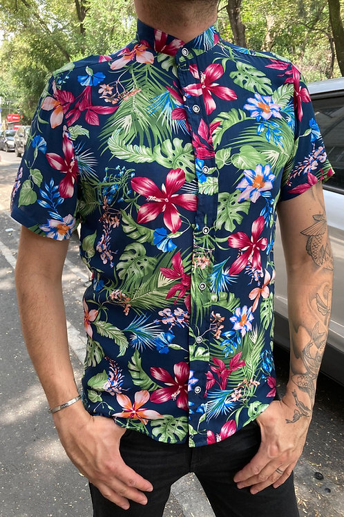 Camisa Caballero Flores Azules