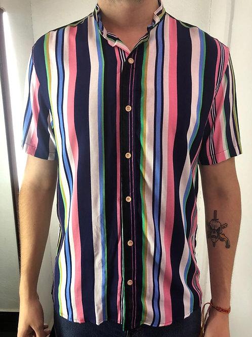 Camisa Caballero Rosa Líneas
