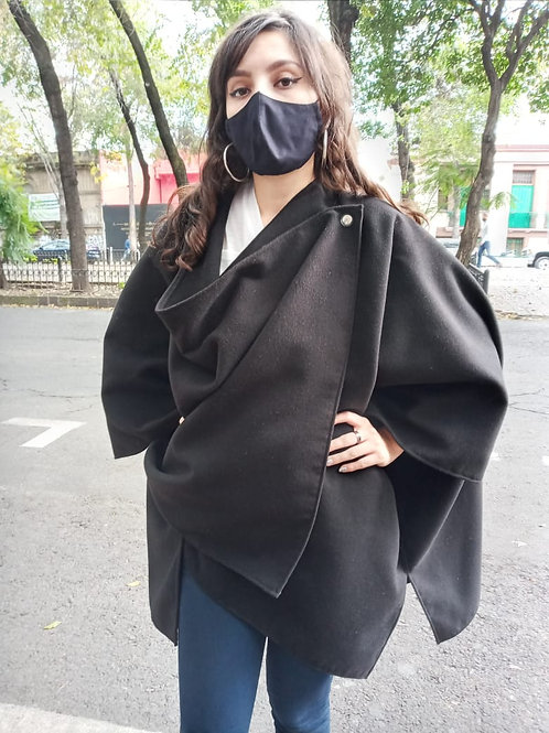 PONCHO UNISEX NEGRO FASHION LOVERS