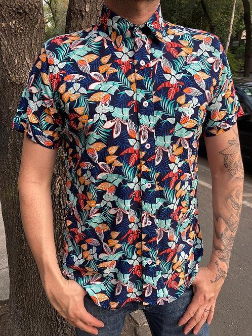 CAMISA MANGA CORTA FASHION LOVERS. Color: Azul vegetación multicolor