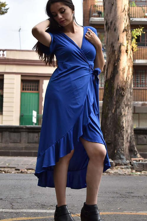 WRAP DRESS  Color:Azul